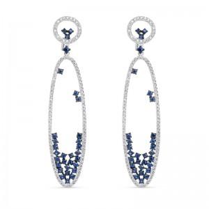 18kt White Gold Sapphire And Diamond Long Dangle Earrings