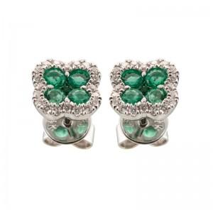 "14kt White Gold Emerald And Diamond ""clover"" Earrings"