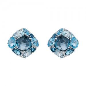 14kt White Gold Blue Topaz And Diamond Earrings