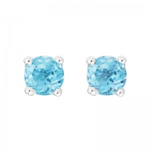 14kt White Gold 4mm Round Blue Topaz Stud Earrings, Finished