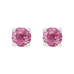 14kt White Gold 4mm Round Pink Tourmaline Stud Earrings,
