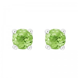 14kt White Gold 4mm Round Peridot Stud Earrings, Finished