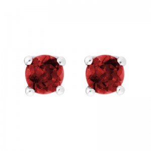 14kt White Gold 4mm Round Lab Created Ruby Stud Earrings,