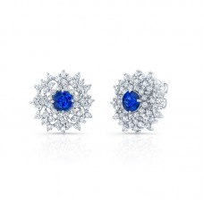 18kt White Gold Sapphire And Diamond Floral Cluster Earrings