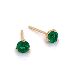 14kt Yellow Gold 0.50-carat Emerald Stud Earrings