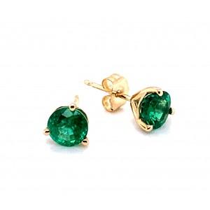 14kt Yellow Gold 1.42-carat Emerald Stud Earrings