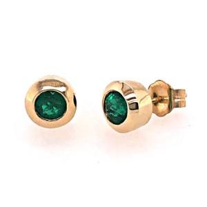 14kt Yellow Gold Bezel-set Emerald Stud Earrings
