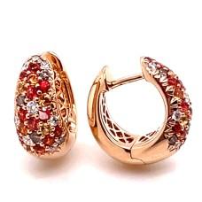 Christophe Danhier 18kt Rose Gold Orange Sapphire And Diamond Earrings