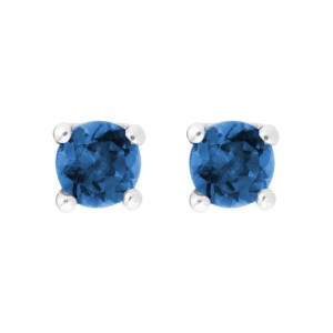 14kt White Gold 4mm Round Lab Created Sapphire Stud Earrings