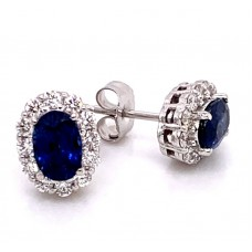14kt White Gold Oval Sapphire And Diamond Halo Stud Earrings