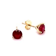 14kt Yellow Gold 1.40-carat Ruby Stud Earrings