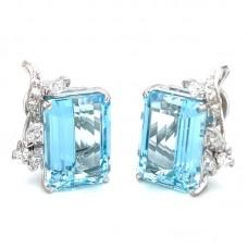 Estate Mid-Century 18kt White Gold Aquamarine And Diamond Clip Earrings