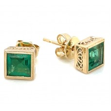 14kt Yellow Gold Square Emerald Stud Earrings