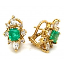Estate 18kt Yellow Gold Emerald And Diamond Earrings