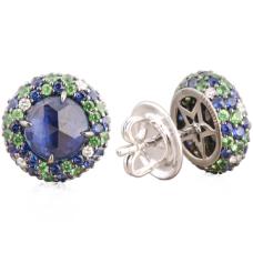 Christophe Danhier 18kt White Gold Sapphire, Tsavorite Garnet And Diamond Earrings