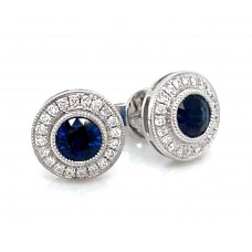 14kt White Gold Sapphire And Diamond Halo Earrings