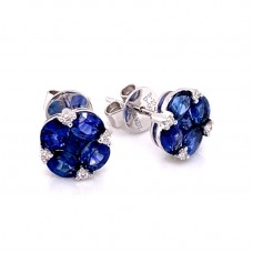 18kt White Gold Sapphire And Diamond Cluster Earrings