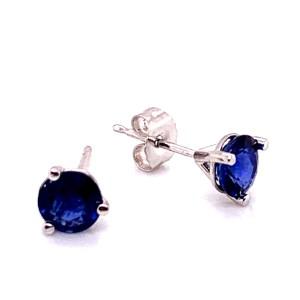 14kt White Gold 1.45-Carat Sapphire Stud Earrings