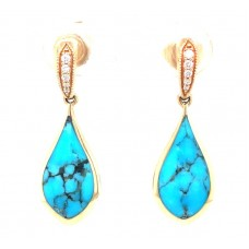 Kabana 14kt Yellow Gold Turquoise And Diamond Drop Earrings
