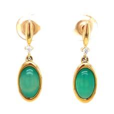 Kabana 14kt Yellow Gold Chrysoprase And Diamond Dangle Earrings
