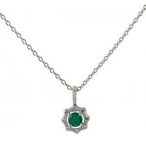 Fana 14kt White Gold Emerald And Diamond Halo Pendant.