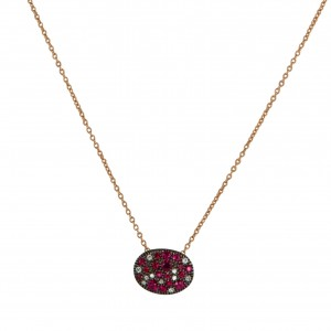 Christophe Danhier 18kt Rose Gold Ruby And Diamond Cluster Pendant