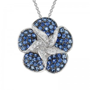 14kt White Gold Pave Sapphire And Diamond Flower Pendant