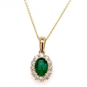 14kt Yellow Gold Oval Emerald And Diamond Halo Pendant Necklace