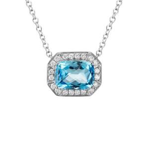 14kt White Gold Blue Topaz And Diamond Halo Necklace