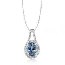 Parle 14kt White Gold Aquamarine And Diamond Pendant Necklace