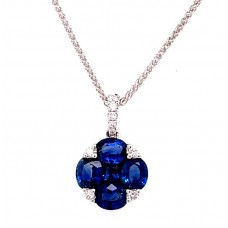 18kt White Gold Sapphire And Diamond Cluster Pendant Necklace