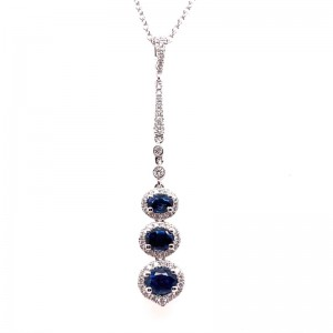 18kt White Gold Sapphire And Diamond Drop Pendant Necklace