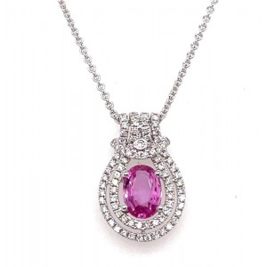 18kt White Gold Pink Sapphire And Diamond Pendant Necklace