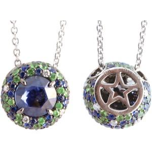 Christophe Danhier 18kt White Gold Sapphire, Tsavorite Garnet And Diamond Pendant Necklace
