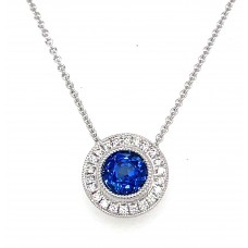 14kt White Gold Sapphire And  Diamond Halo Pendant Necklace