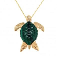 Kabana 14kt Yellow Gold Malachite Turtle Pendant Necklace