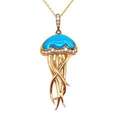 Kabana 14kt Yellow Gold Turquoise And Diamond Man-O-War Pendant Necklace