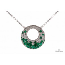 Fana 14kt White Gold Emerald And Diamond Necklace