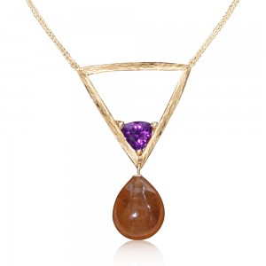 Parle 14kt Yellow Gold Orange And Purple Garnet Necklace