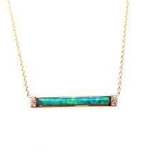 Kabana 14kt Yellow Gold Opal And Diamond Bar Necklace