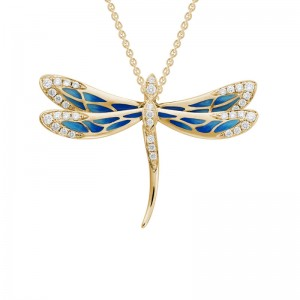 14kt Yellow Gold Enamel And Diamond Dragonfly Pendant Necklace