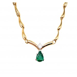 Estate 14kt Yellow Gold Emerald And Diamond Necklace
