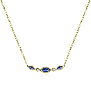 Gabriel & Co. 14kt Yellow Gold Sapphire And Diamond Necklace