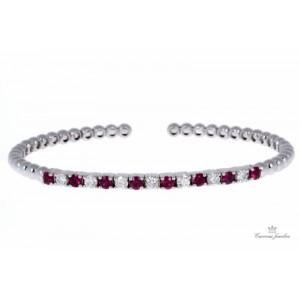 18kt White Gold Ruby And Diamond Bangle Bracelet