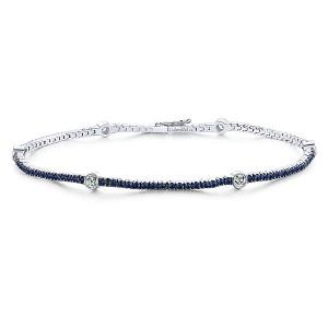 Gabriel & Co. 14kt White Gold Sapphire And Diamond Bracelet