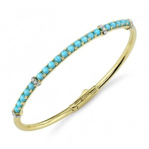 Sloane Street 18kt Yellow Gold Turquoise And Diamond Bangle Bracelet