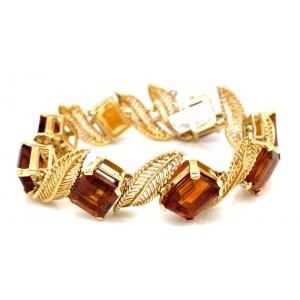 Estate Mid-Century 18kt Yellow Gold And Citrine Bracelet