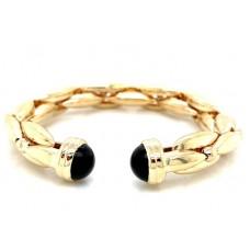 Estate 14kt Onyx Cuff Bracelet