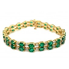 Estate 14kt Yellow Gold Emerald And Diamond Double Row Bracelet