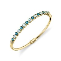 Sloane Street 18kt Yellow Gold Blue Topaz And Diamond Bangle Bracelet